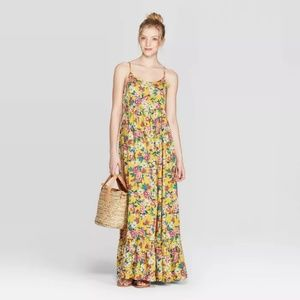 Women's Floral Print Strappy Scoop Neck Maxi Dress